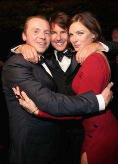 Tom Cruise, Simon Pegg, Rebecca Ferguson  Red dress, Suit