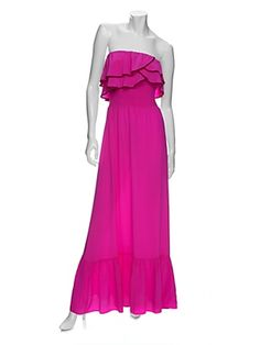 Jay Godfrey: Maxi Silk Dress: Hot Pink