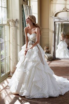 this is beautiful! striped wedding dress :: classic style with modern twist