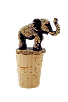 We love this antiqued brass elephant wine cork that is handmade in Cape Town, South Africa. #FairTuesday
