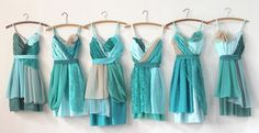 These photos show examples of turquoise, teal, and aqua dresses made for bridal parties. The original dresses are not available, but we can Rainbow Bridesmaid Dresses, Aqua Bridesmaids, Turquoise Bridesmaid Dresses, Wedding Bridesmaid Dresses, Aqua Dresses, Turquoise Dress, Wedding Attire, Summer Wedding Colors, Trendy Wedding