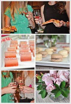 Pizza and Champagne Party - Girls' Night Party Ideas - Ombre Jello Shots - Macarons - DIY Flower arrangements
