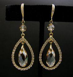 Topaz and diamond crystal earrings
