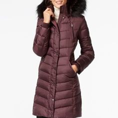 Rank & Style - DKNY Faux Fur Trim Hooded Down Puffer Coat #rankandstyle