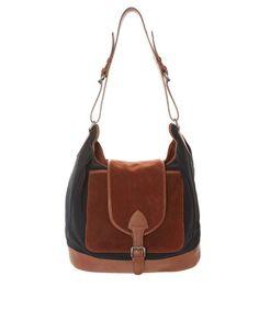 ASOS Leather and Suede Color Color Block Shoulder Bag
