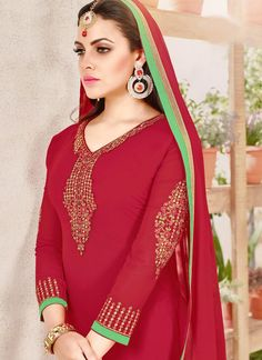 Buy Faux Georgette Red Churidar Designer Suit Online - Churidar Suits