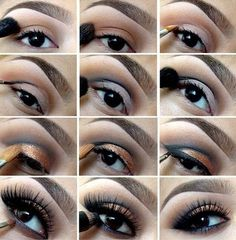 Orange Eyeshadow | Eyeshadow Tutorials for Brown Eyes -  | How To Make Eyes Look Sexy And Dramatic by Makeup Tutorials at http://makeuptutorials.com/12-colorful-eyeshadow-tutorials-brown-eyes/
