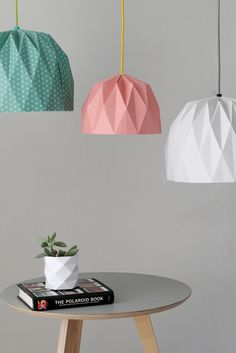 A beautiful origami pendent lampshade. It comes in six different colors: Turquoise, Yellow, Black and White Plaid, Black, Grey or Turquoise
