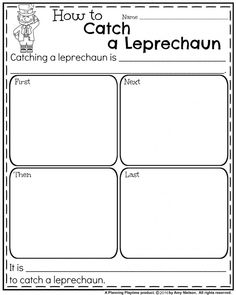 Informative writing prompt for St. Patrick's Day- How to Catch a Leprechaun.