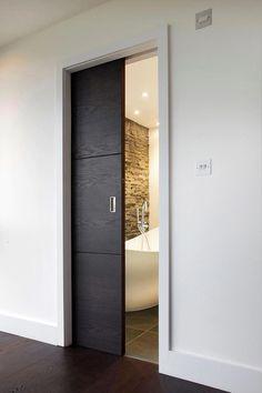 bathroom grey master bath, pocket door (do it grey. Sliding Bathroom Doors, Internal Sliding Doors, Sliding Door Design, Modern Sliding Doors, Internal Doors Modern, Bathroom Pocket Door, Modern Barn Doors, Indoor Sliding Doors, Sliding Door Room Dividers