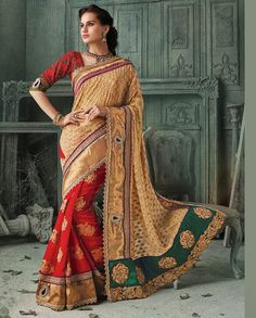 Red and beige half and half sari with golden border   1. Red and beige georgette butti sari2. Comes with matching unstitched blouse