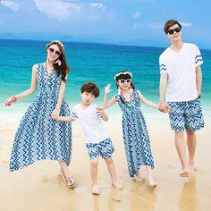 Estilo caliente Bohemia familia juego trajes de onda de impresión coincidencia…