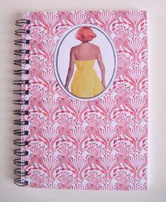 """Carnets, Carnet A 6 à spirale rétro """"Femme de dos"""" , motifs art déco,est une création orginale de Miska-creations sur DaWanda"""