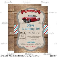 Start your engines. Your guests will want to race over when they see this classic car baby shower invitation. Perfect for the parents with a passion for speed and classics. Cars Birthday Invitations, Baby Shower Invitations, 70th Birthday Parties, Car Birthday, Surprise Birthday, Birthday Ideas, Happy Birthday, Papi, Classic Cars