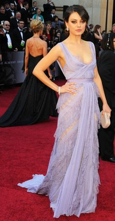 Mila Kunis in Elie Saab.. Only celebrity I was ever told I look alike.. More than once.
