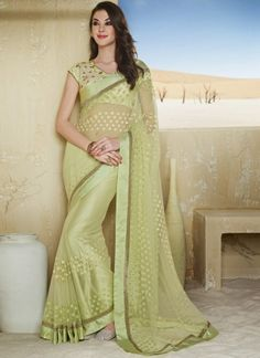 Captivating Light Green Latest Designer Party Wear Saree  http://www.angelnx.com/Sarees/Designer-Sarees