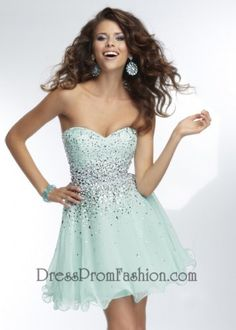 Mint Strapless Sparkly Beaded Short Prom Dress