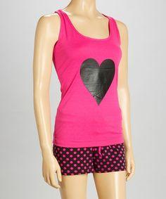 Love this Pink & Black Heart Short Pajama Set - Women on #zulily! #zulilyfinds