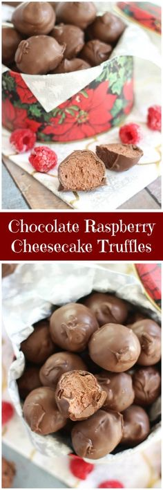 Chocolate Raspberry Cheesecake Truffles! Silky and smooth chocolate and cream cheese no-bake truffles with lots of raspberry flavor from the addition of raspberry jam and raspberry liqueur!