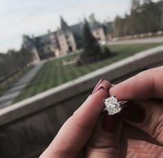 Solitaire Radiant Cut Diamond Engagement Ring - Biltmore Proposal - Asheville, NC