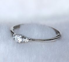 Tiny! Natural white sapphire Trilogy ring in white gold or titanium - engagement ring - wedding ring