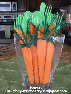 Carrot Napkins   A few years ago I saw these cute carrot napkins and we have been making them for our Easter dinner ever since. They are really easy...