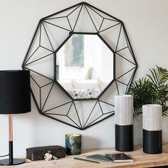 Specchio nero in fili di metallo 65x65
