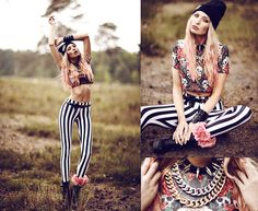 Black Milk Clothing Leggings, Sheinside Top, Outside The Boxes Ankle Cuff, Easy Money Clothing Beanie, Romwe Necklace