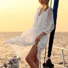 Midi robe longue bohème dentelle drawstring creux-out doux manches longues sexy blanc