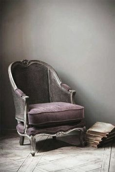 Imagen de chair, purple, and book