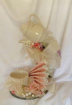 Wedding Centerpiece Tea Cup Centerpiece Teapot by BasketsFromAtoZ