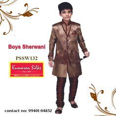 Sherwani, Churidar, Kids Wear, Party Wear, Menswear, Suits, Boys, Fabric, Cotton