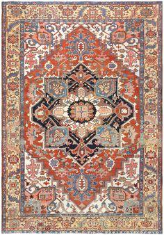 Antique Room Sized Serapi Persian Carpet 48469