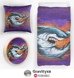 Home Decor at Redbubble Graffiti Shark Bedding, throw pillow and wall clock  - Street art on a brick wall…..a fierce shark, holding a can of spray paint and a big stick. Purple and orange are dominate this work of art.