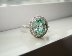 Oval Halo Mint Blue Green Garnet Diamond Ring Gemstone Engagement Ring Wedding Custom Cushion Oval Halo Setting 14K White Gold
