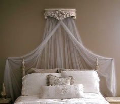 ornate shelf turned canopy crown - i already have one of these shelves gathering dust! & DIY Bed Crown using Hobby Lobby shelf tension rod and Sheer ...