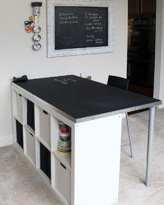 chalkboard table top + cubby organizer = desk