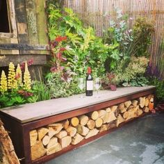 AdezzCorten Steel Wood Store SeatWood Storage is part of Wood storage bench Our Corten Steel Wood Store seat is ideal for creating a useful focal point and seating area in your garden Use to store - Outdoor Firewood Rack, Firewood Storage, Wood Storage Bench, Outdoor Storage, Garden Storage Bench, Fire Wood Storage Ideas, Garden Bench Seat, Seat Storage, Corten Steel Garden