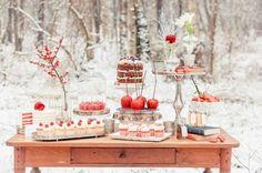 snow white inspired dessert table
