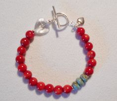Red Coral Turquoise Rondell Heart Sterling Silver Bracelet kd Sundance NEW #KatesDesigns #Beaded