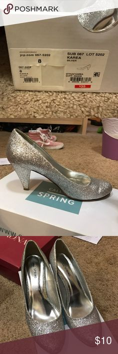 Super Sparkly tiny heels size 8 sparkly heels, super cute silver, about 2 1/2-3in heel, comfortable Call It Spring Shoes Heels