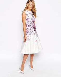 True Violet Structured Prom Dress In Placement Floral Print