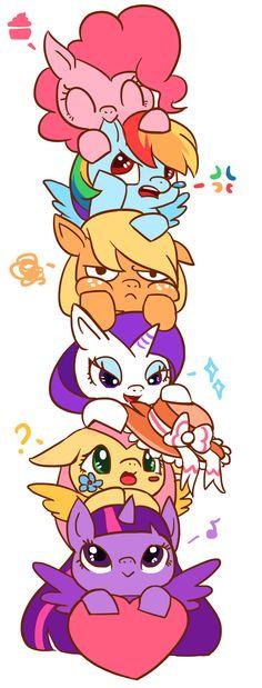 #833736 - applejack, applejack is not amused, artist:kongyi, chibi, cute, ear nibble, fluttershy, hat, mane six, pinkie pie, princess twilight, rainbow dash, rarity, safe, tower of pony, twilight sparkle - Derpibooru - My Little Pony: Friendship is Magic Imageboard