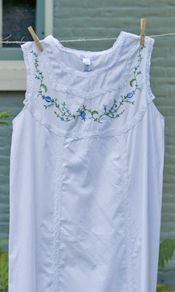 'Bonnie' is a classic.With periwinkle embroidered flowers on the bodice and crocheted lace circling the armholes and neckline. http://www.aprilcornell.com/product/Bonnie-Ladies-Nighty-NTAA5266W-White/nightwear