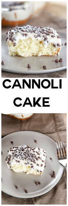 Cannoli Cake with Cannoli Cream Frosting: Moist melt in your mouth cake topped w. - Cannoli Cake with Cannoli Cream Frosting: Moist melt in your mouth cake topped with a decadent cann - Italian Desserts, Köstliche Desserts, Delicious Desserts, Yummy Food, Italian Cake, Baking Recipes, Cake Recipes, Dessert Recipes, Cannoli Cake