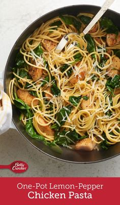 This easy one-pot pasta is full of lemon-pepper chicken, spaghetti and fresh baby spinach, and is perfect for a weeknight dinner. Add a green salad and warm crusty bread, and you're all set!