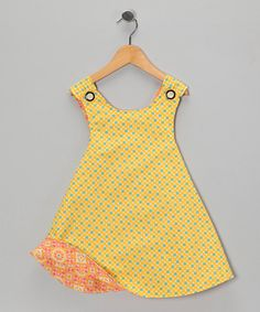 Right Bank Babies Yellow & Melon Reversible Dress on #zulily