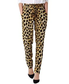High Tie Waist Harem Pants in Leopard Print
