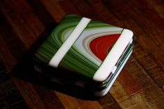 Glass Art Coasters in Red, Green and White by JoyceSherwinArt on Etsy