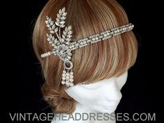 Great Gatsby Vintage 1920's Art Deco Flapper Headband Headpiece - Wedding - Bridal - Event